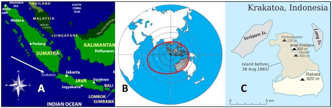 Figure 3. Location of Krakatoa, Indonesia in the Indian Ocean (A), area in which the eruption was heard bordered in red (B), and the change in the island following the eruption (C).