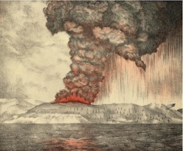 Figure 2. A lithograph of the Krakatoa volcano eruption made about 1888, five years following the eruption. Image: Parker & Coward/Wikipedia.