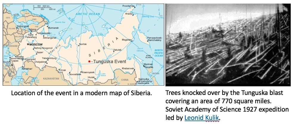 Figure 1. Location of the Tunguska Event (left image) and 830 square miles of forest aftermath, as reported from a Soviet Academy of Science 1927 expedition.